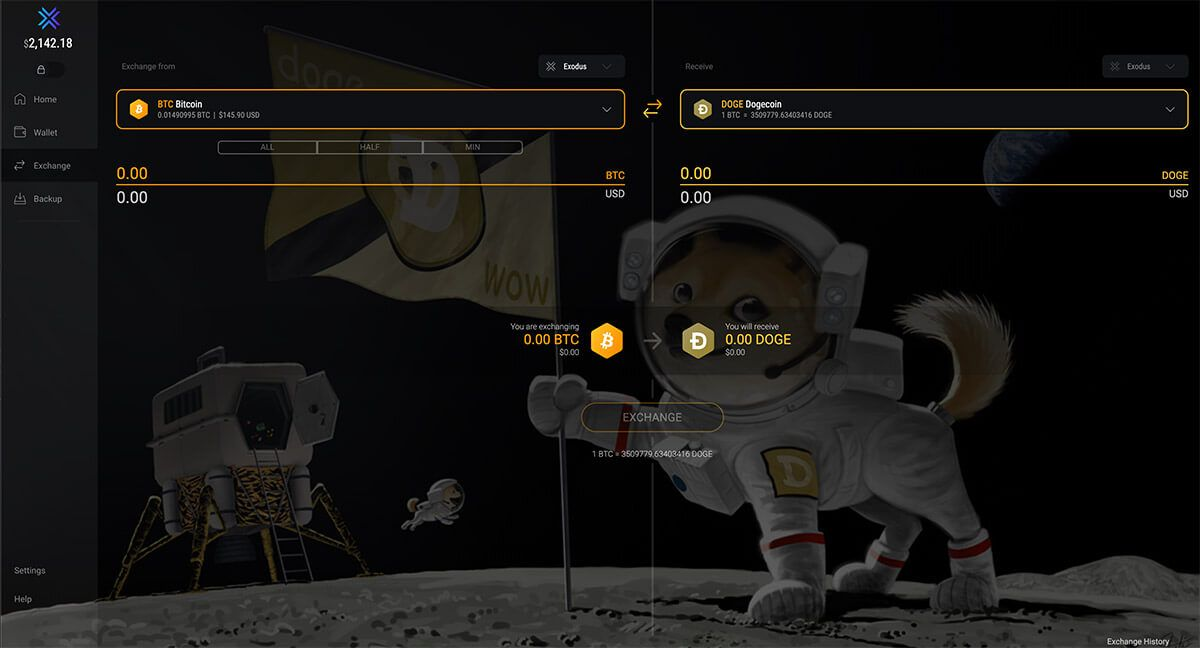 Store Doge Coin in Exodus Wallet