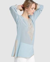 Blusa tipo caftán de mujer Síntesis de seda