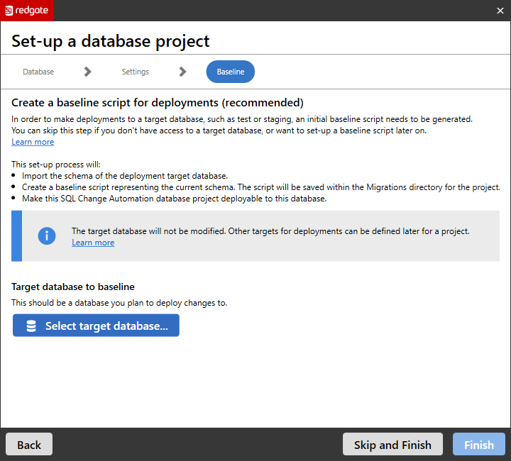 Set-up an existing project - SQL Change Automation in SSMS - Product