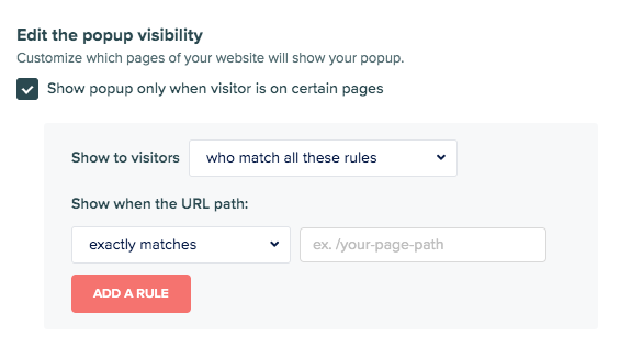popup visibility rules