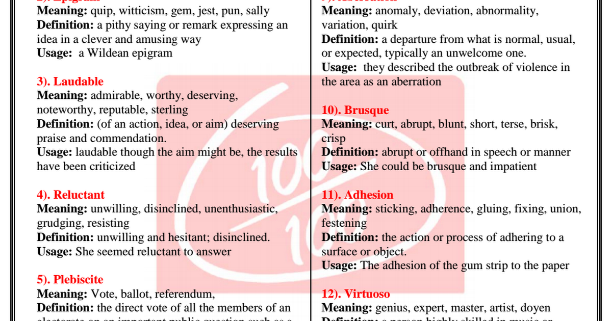 IBPSGuide - Important English Vocabulary Word (Part-11) pdf