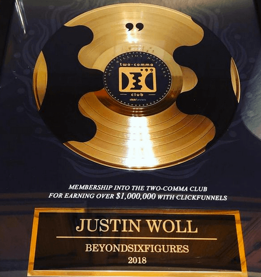 justin woll's first two-comma club award from click funnels for the beyondsixfigures program