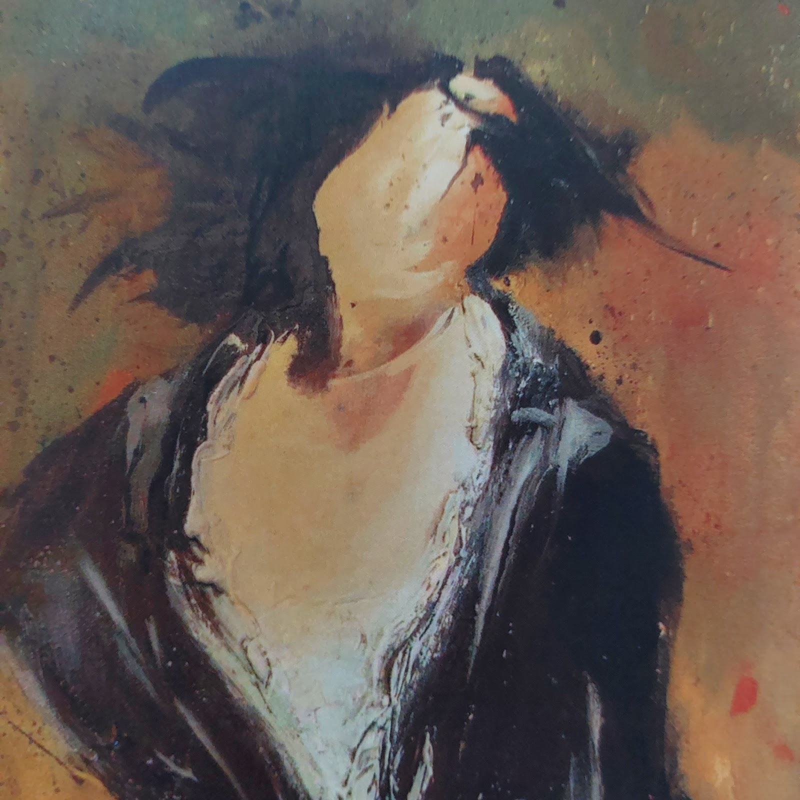 Artwork by Tom Climent features a painting of a faceless woman in a black dress on a paint spattered background