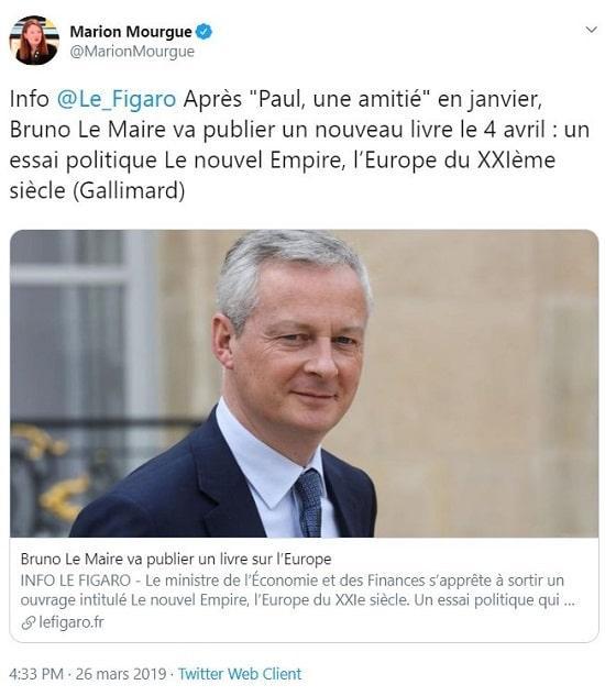 Bruno Le Maire publie son deuxième livre de l'année le 4 avril