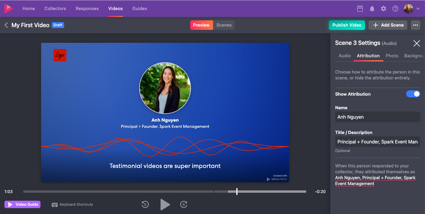 Video testimonial software: Automatically apply background music in Vocal Video