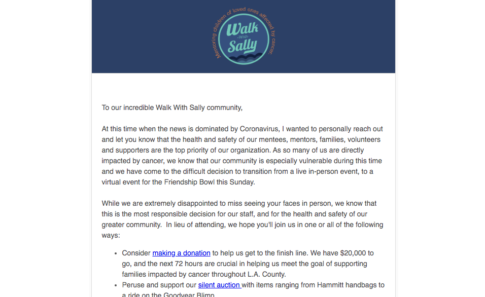 Walk with Sally - give updates incase of changes