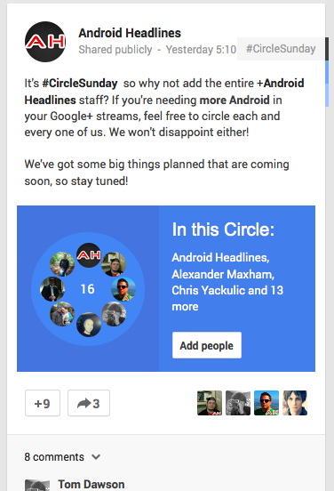 android headlines gplus circles