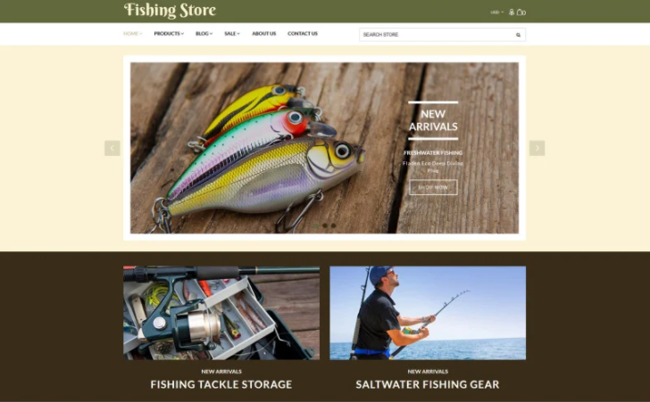 best responsive Fishing store shopify theme