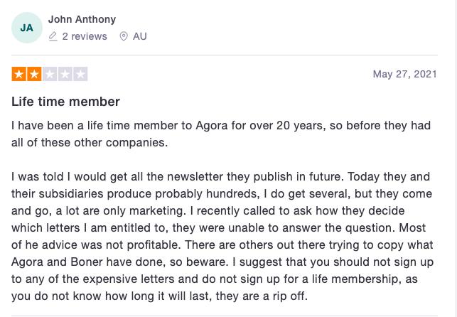 Agora Financial reviews
