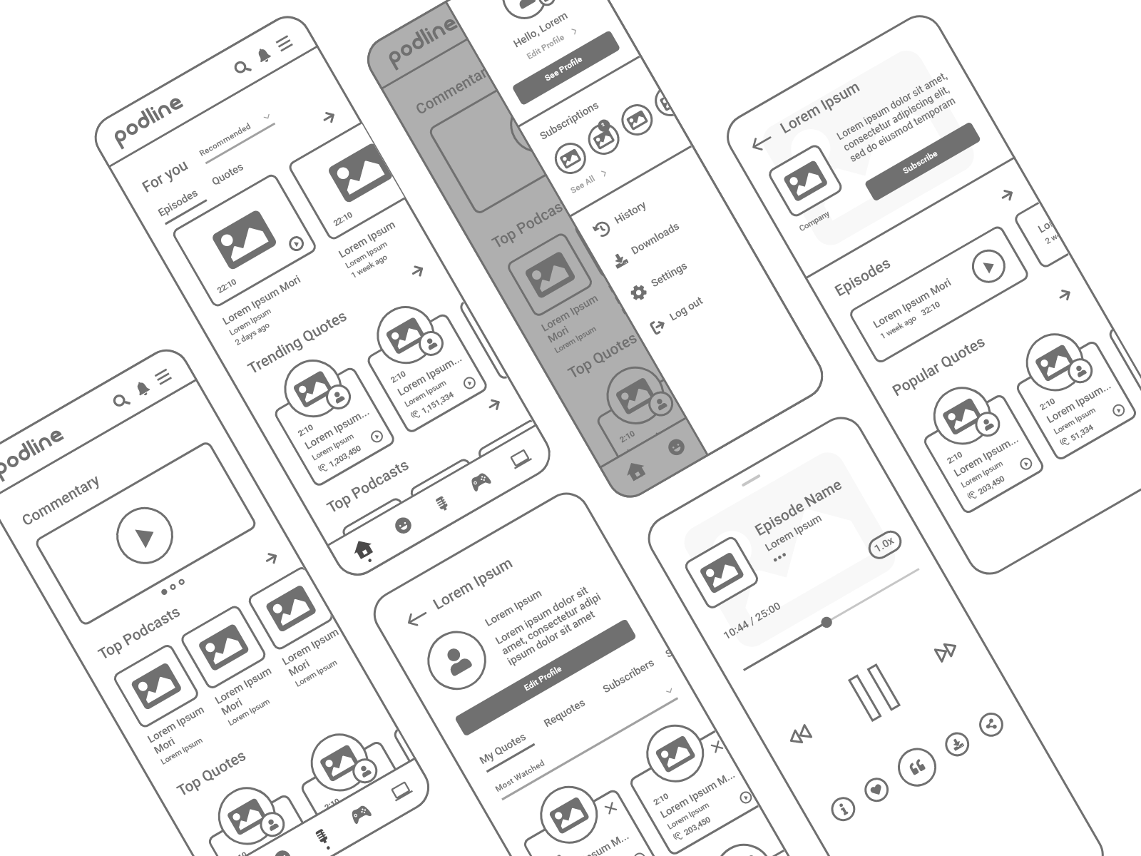 A low fidelity wireframe example of Fernando Aleta's Podline podcast app.