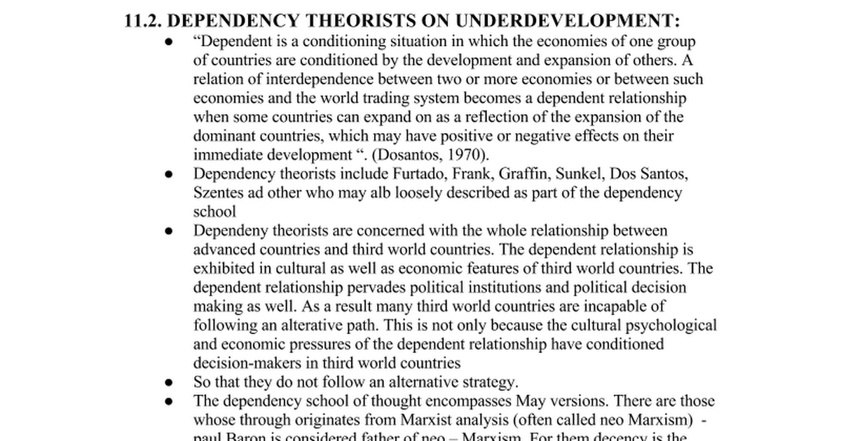 cultural dependency theory T tourism and cultural dependency in the west indies h michael rdsman department of political science mercyhurst college, usa abstract traditionally dependency has been viewed as an.