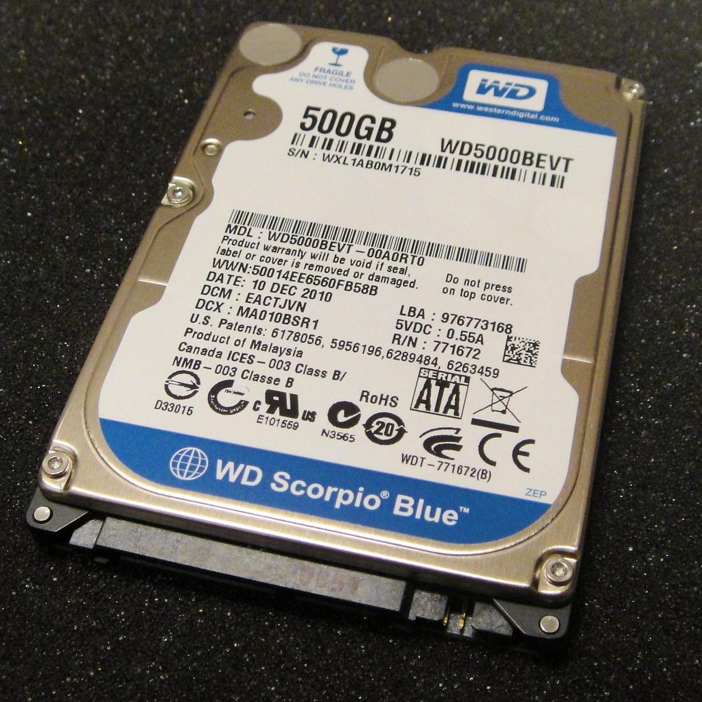 500 GB Western Digital Scorpio Blue HDD