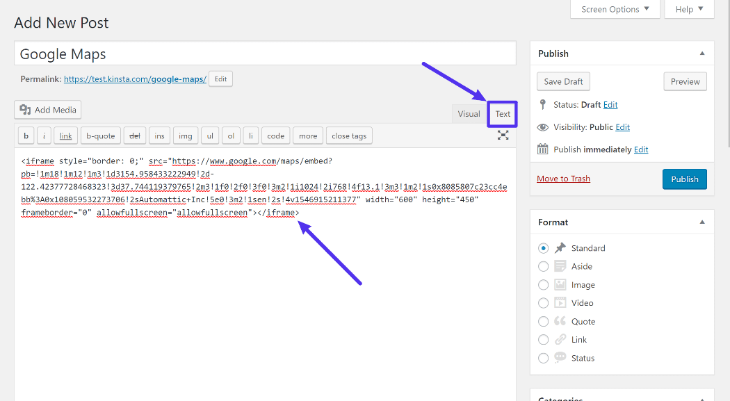 How to add embed code in WordPress Classic editor