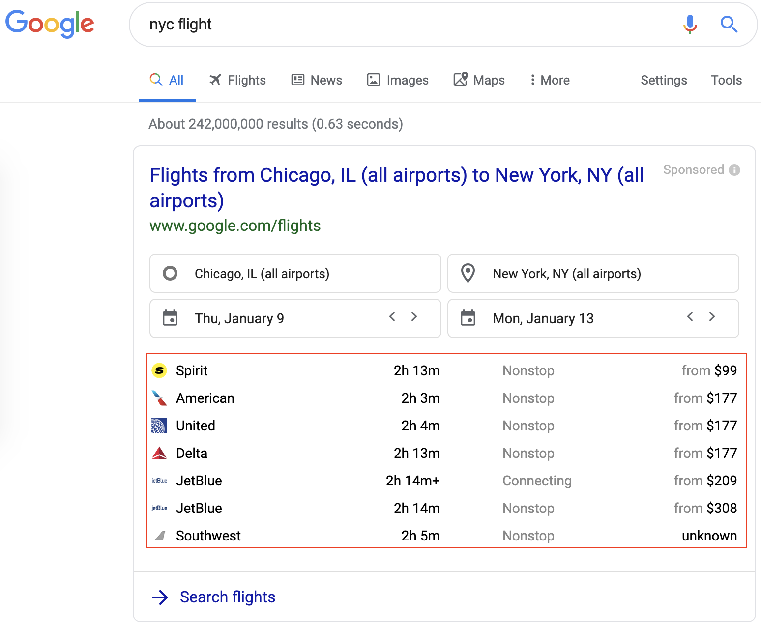 Google Flight allows OTAs to only differentiate by price