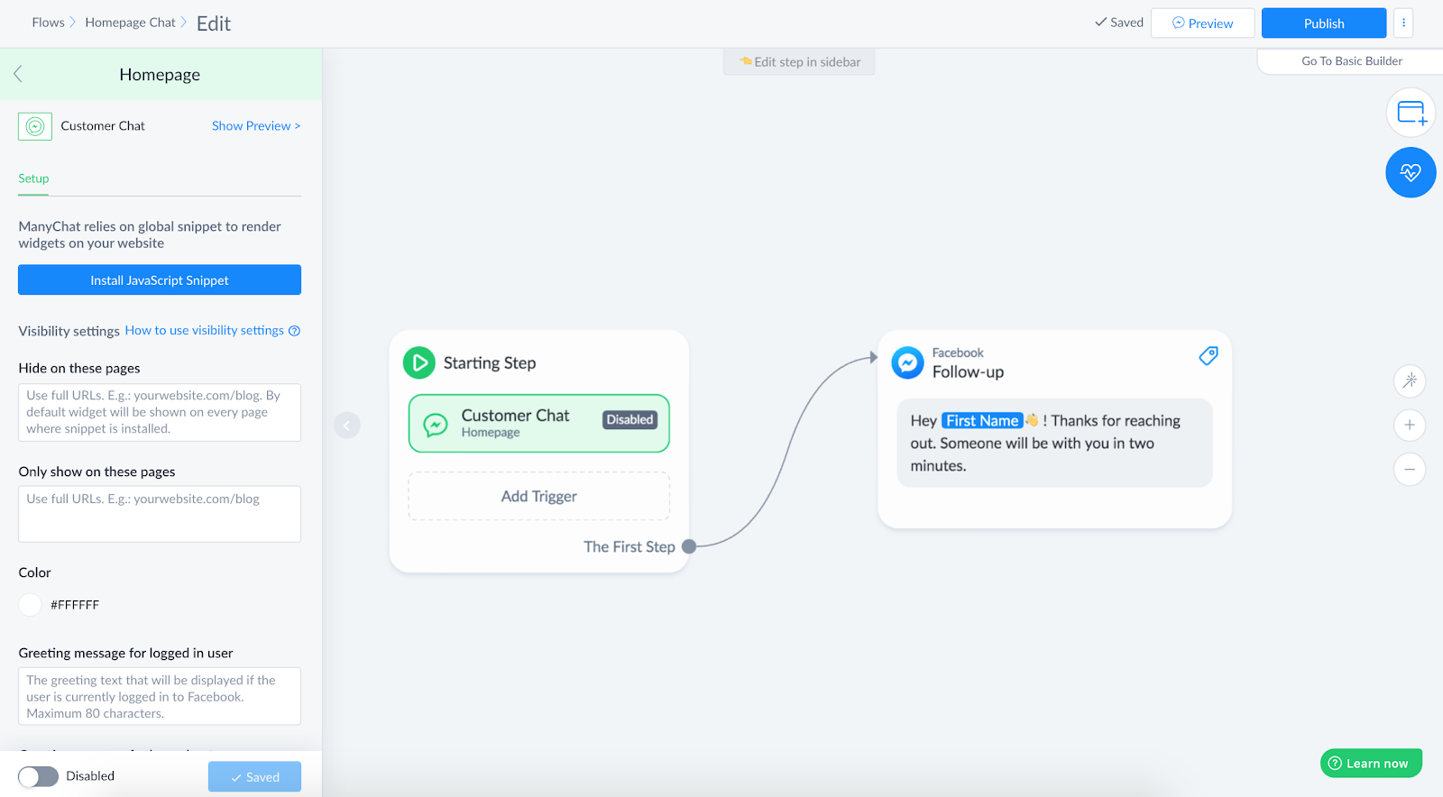 Creating Customer Chat widget in ManyChat
