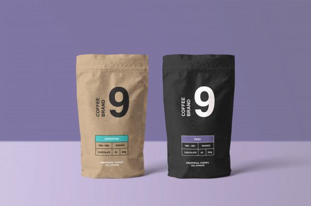 Paper coffee bag mockup Premium Psd