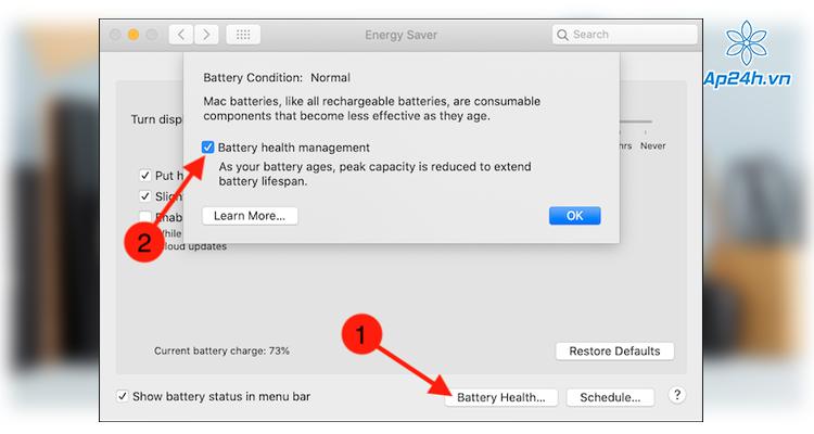 Tính năng Battery Health Management đang bật