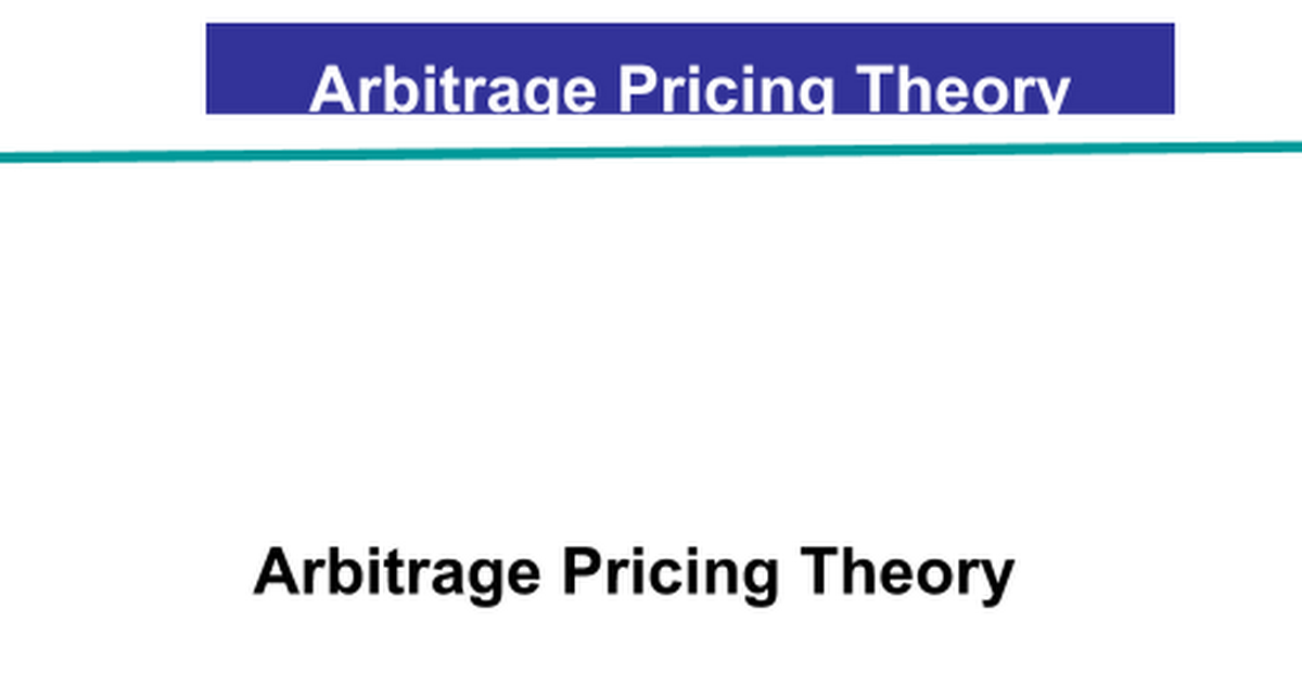 arbitrage pricing theory Get expert answers to your questions in investors, profit, pricing and efficient-market hypothesis and more on researchgate, the professional network for scientists.