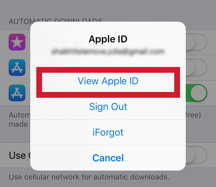 "Select the ""View Apple ID"" item"