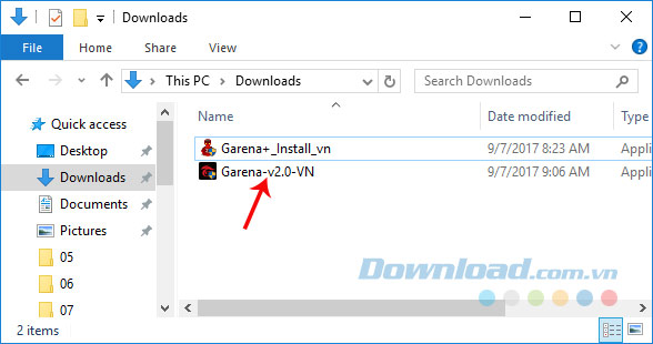 File Garena 2.0 sau khi tải về