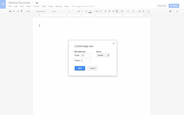 изменить размер сраницы в гугл документах