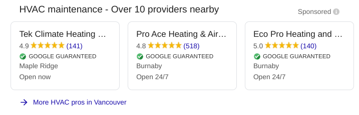 Local Services Ad from Google for reputation marketing.
