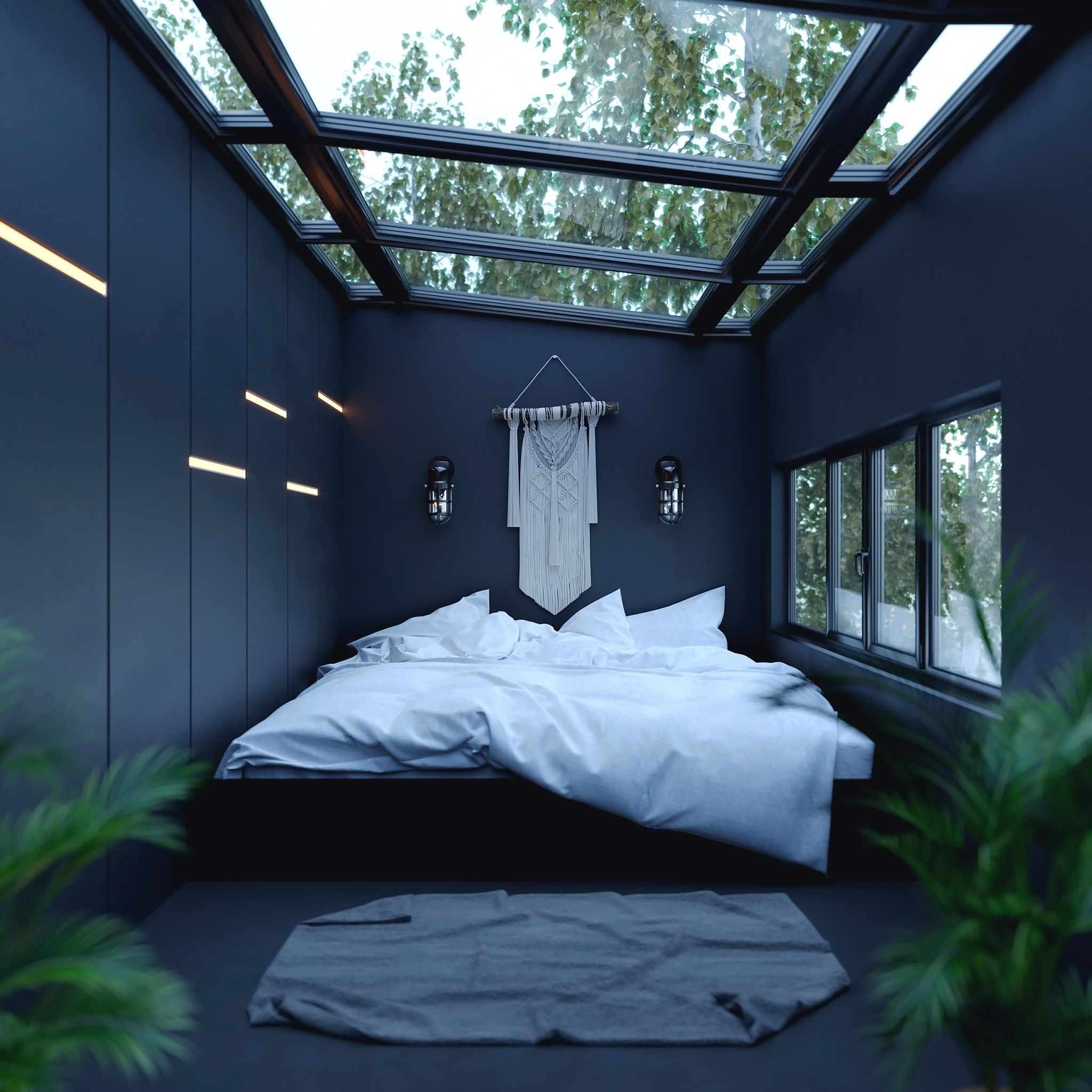 Luxury Bedroom with a View of Nature