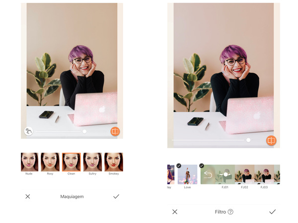 Montagem com 2 fotos da mesma mulher no escritório. Nessa montagem mostra uma edição usando as ferramentas do AirBrush.