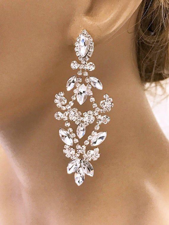 Bridal Earrings Bridal Jewelry Wedding Earrings Crystal   Etsy   Bridal earrings  chandelier, Bridal earrings, Crystal earrings wedding