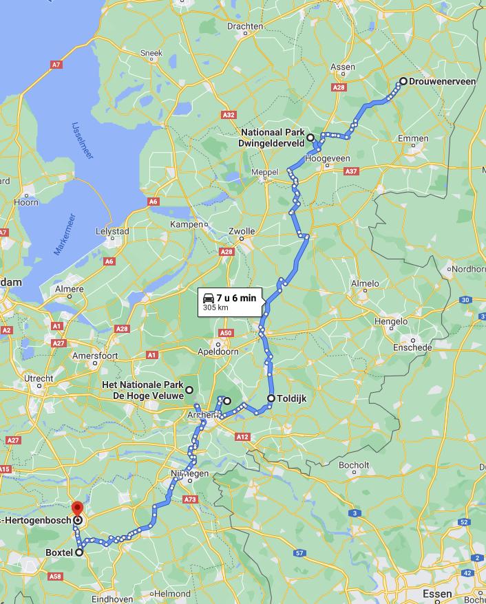 Route op de kaart van een roadtrip door Nederland