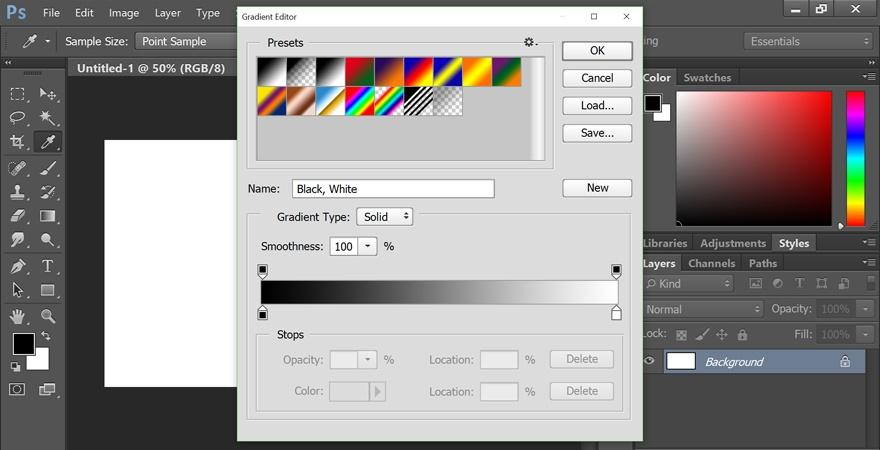 gradient tool on Photoshop