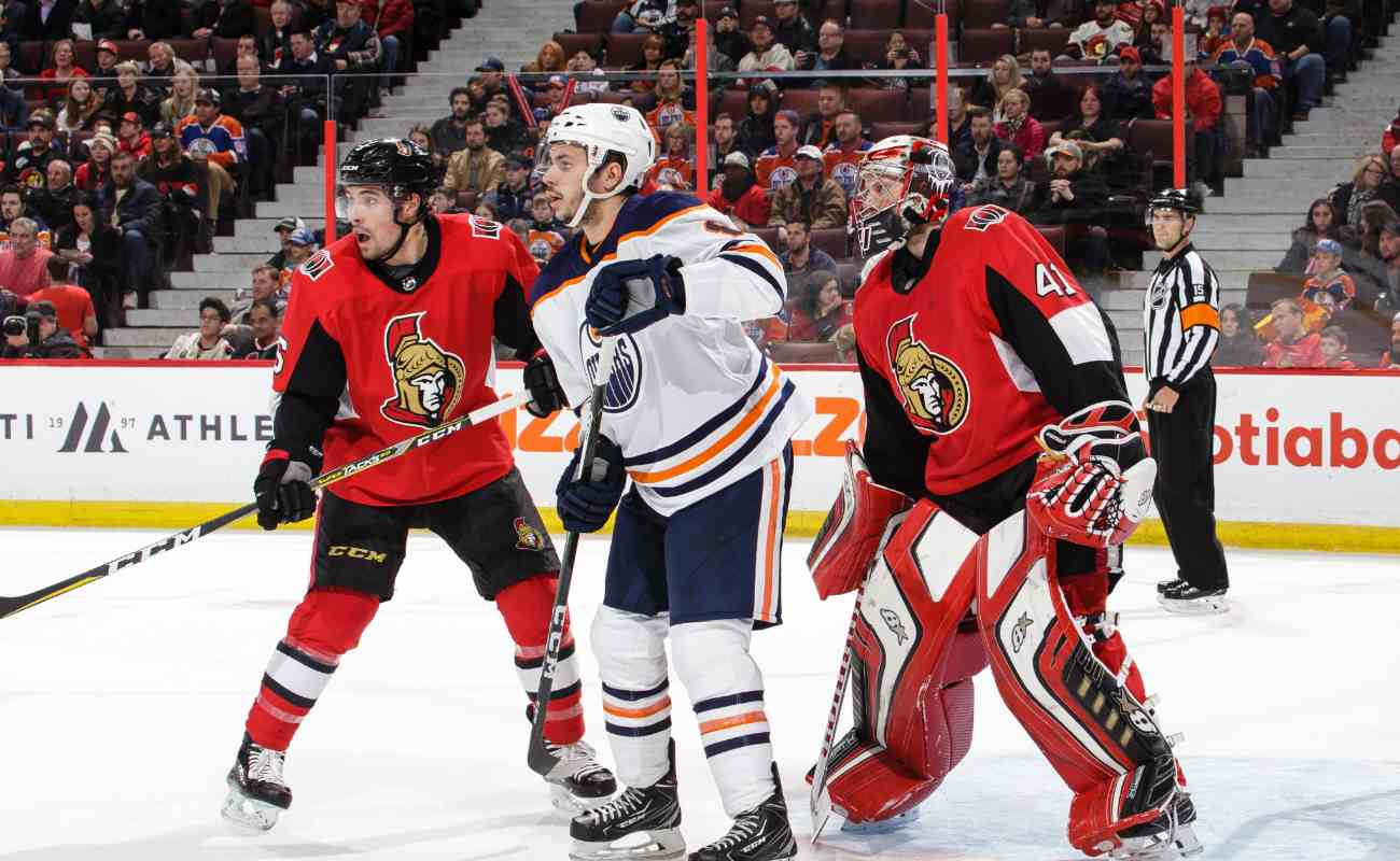 Ottawa Senators defend against the Edmonton Oilers at the Canadian Tire Center.