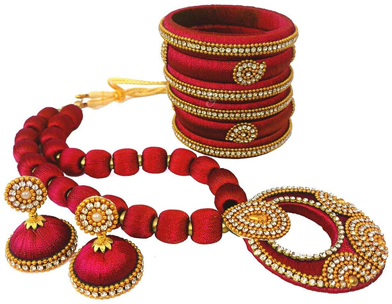Youth Maroon Silk Thread Jewelery Set