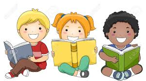 Cartoon image of students reading - 1