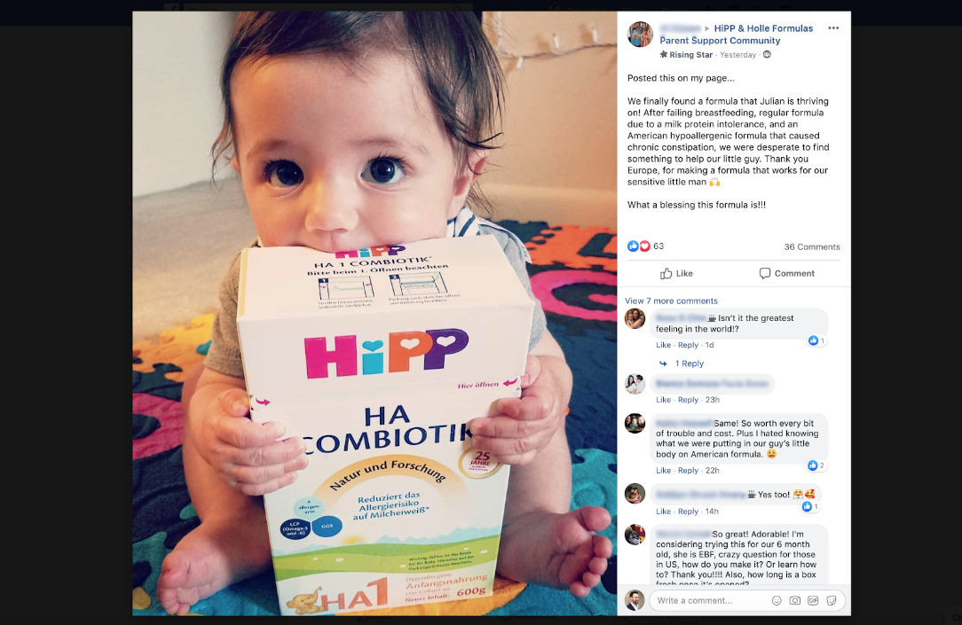 photo of the hipp and holle facebook community, a place to discuss the best european baby formulas
