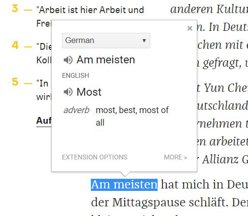 screenshot Google Translate Chrome Extension