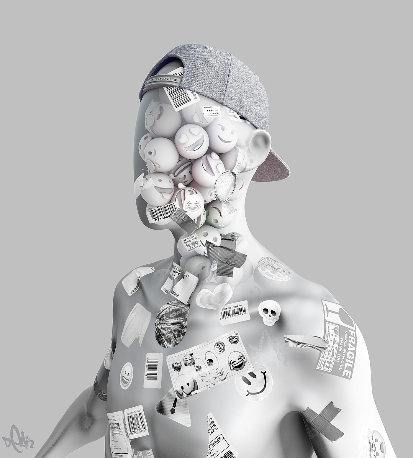 3D CGI cinema4d Emoji makersplace nft octane Render Sculpt stickers