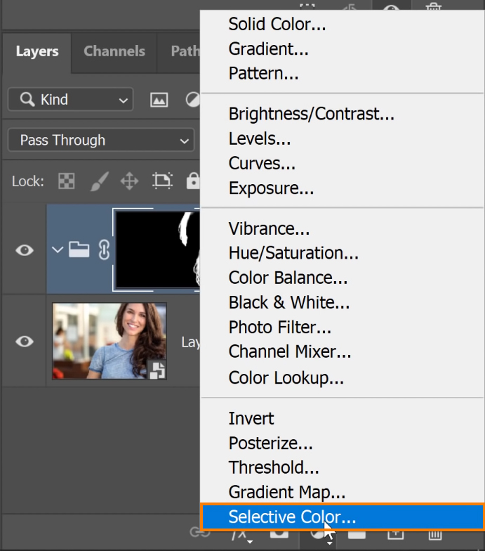 Click on the New Adjustment Layer icon and select Selective Color