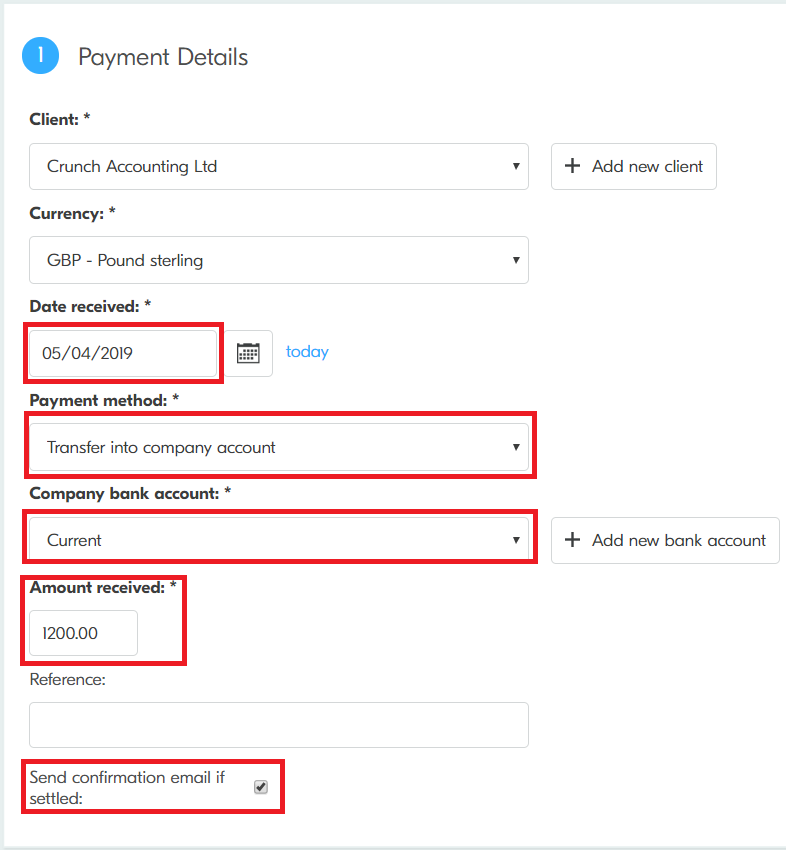Crunch | How to record a client payment