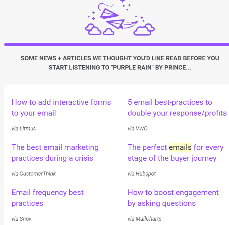 Really Good Emails example