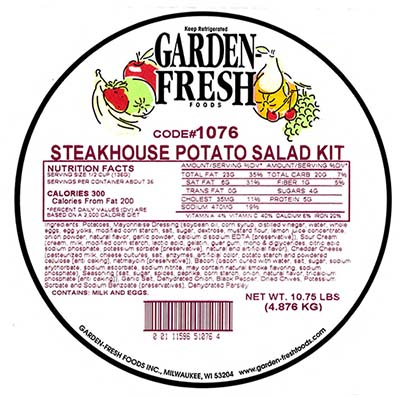 Garden Fresh Foods Steakhouse Potato Salad Kit, Net Wt. 10.75 LBS