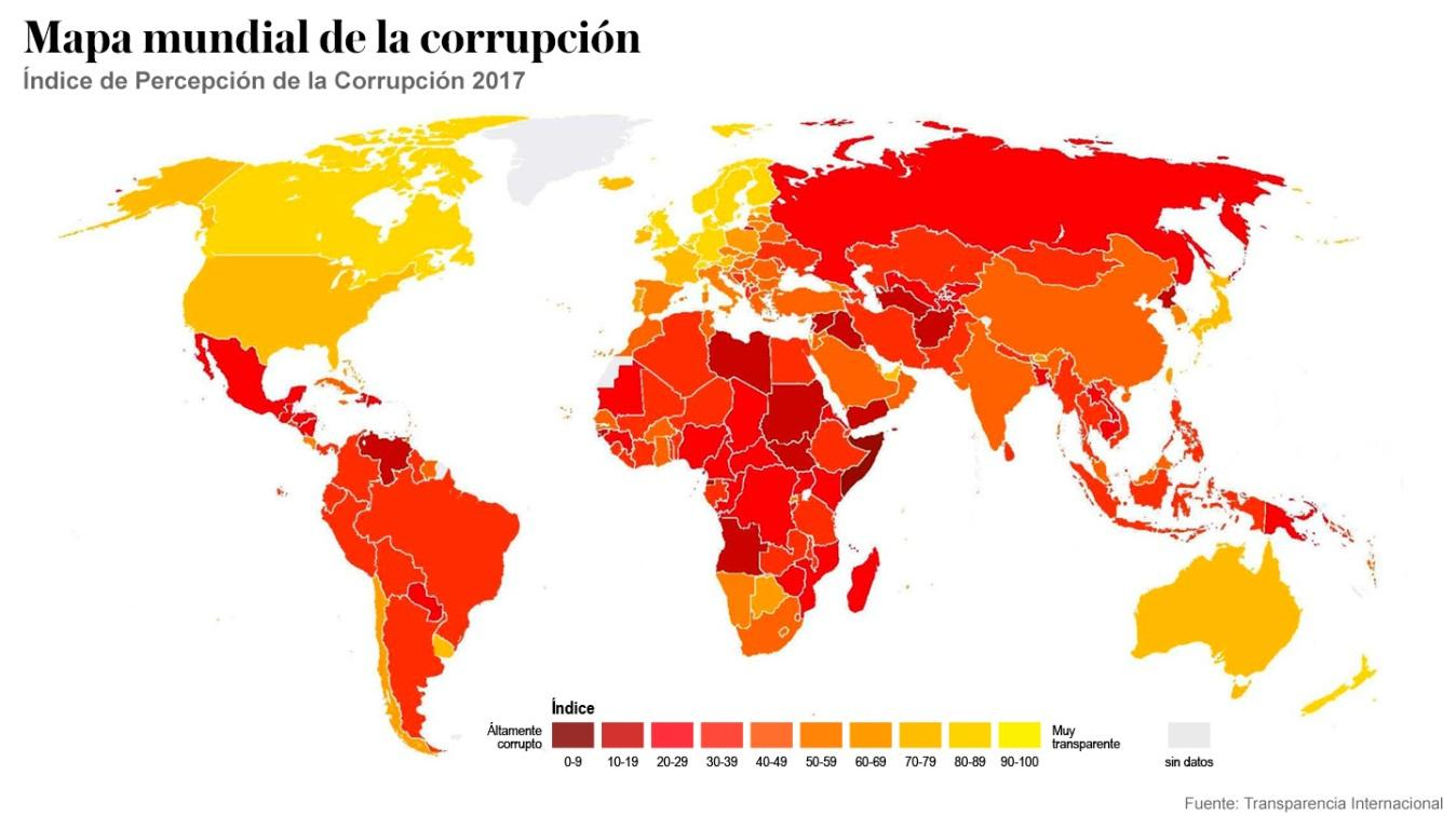 Resultado de imagen para el mapa de la corrupción mundial 2018