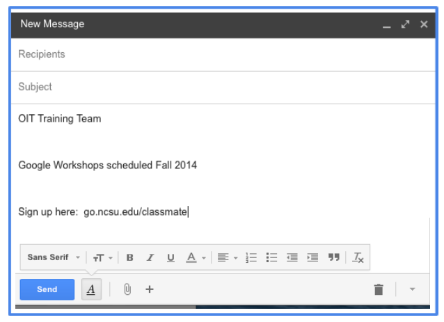 Google Training Tip: Remove Formatting in Gmail Compose