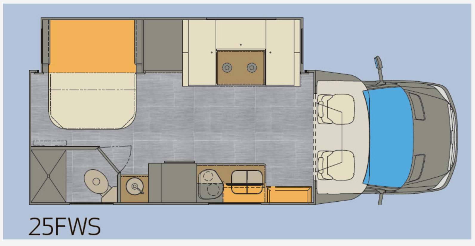 Floor plan for the family-friendly Renegade Villagio 25FWS Class B+