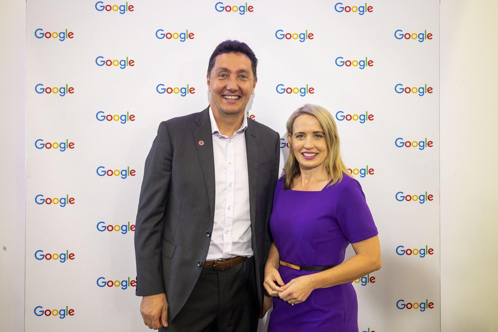 Photo of Google's John Ball with Minister, Kate Jones