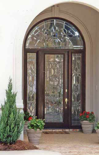 Doors by design wood custom leaded glass for Front door arch design
