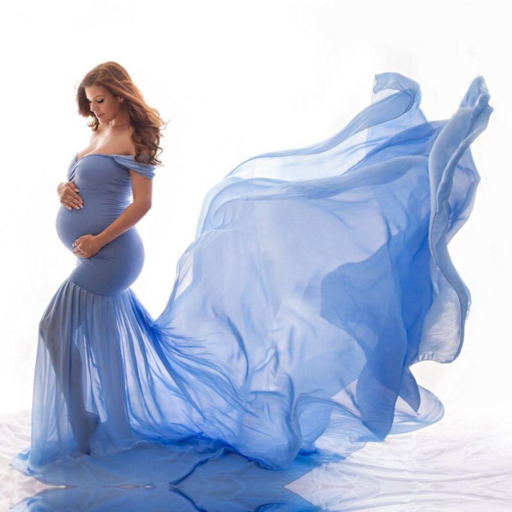 Elegant Off-Shoulder Maternity Gown