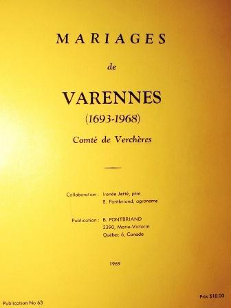 Mariages de Varennes (1693-1968)