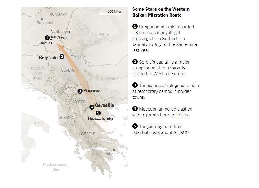 migrace balkánská cesta NYT.jpg