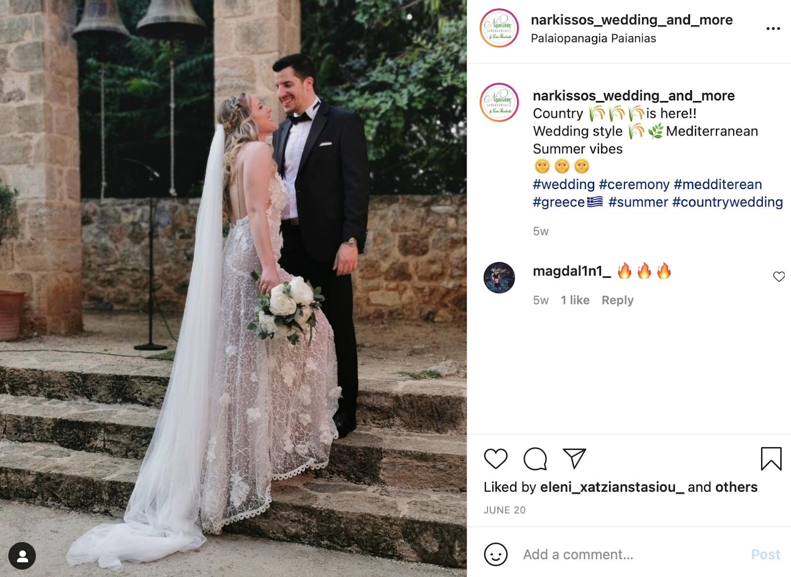 Mediterranean wedding instagram caption